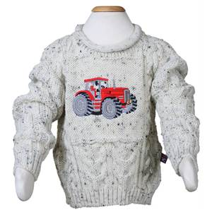 Red Tractor Embroidered Aran Sweater for Children