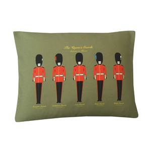 Cushion Featuring Foot Guards Regimen Buttons and Plumes